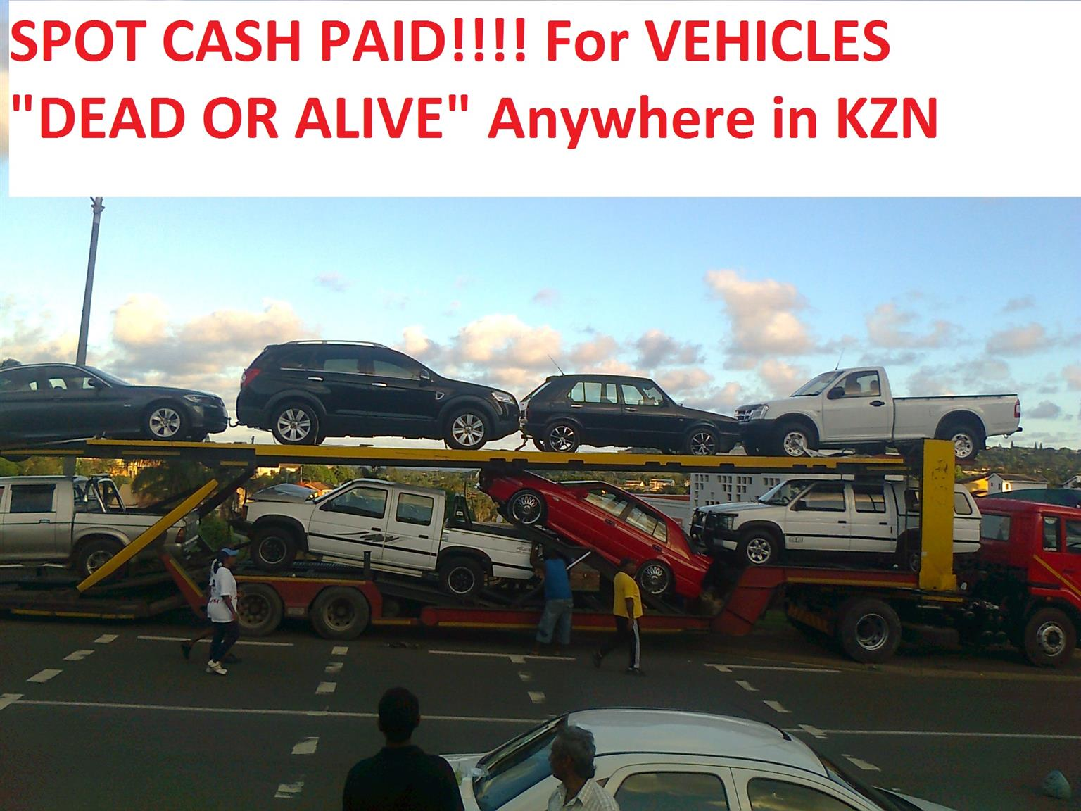 CASH FOR CARS & BAKKIES : NON RUNNERS - USED - ACCIDENT DAMAGED - UNLICENSED * Anywhere in KZN