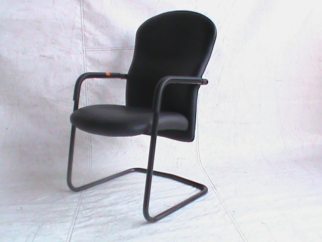 Black leather visitors chair