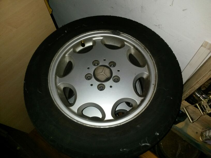 4 Mercedes rims and  tyres 195/65 /15inch tyres almost new.
