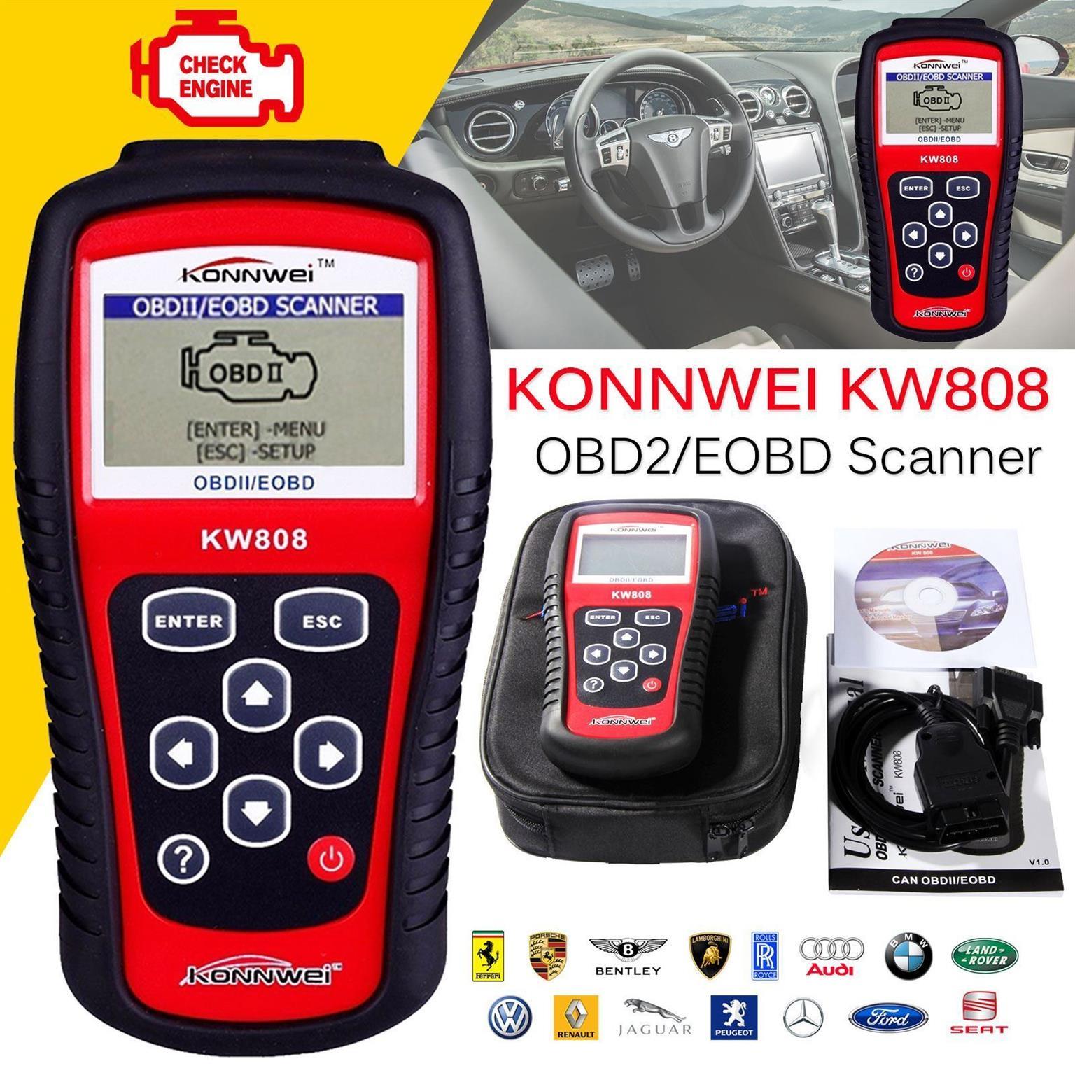 KONNWEI KW808 (OBD2) DIAGNOSTIC CODE READER RESET TOOLS FOR SALE!!