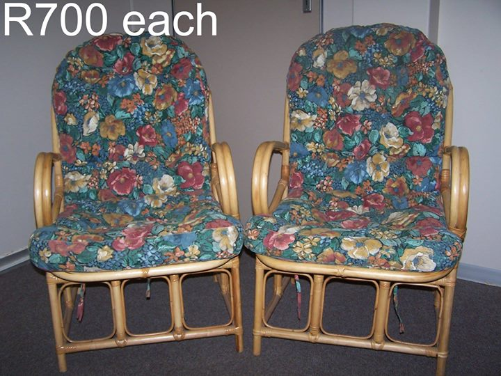 2 x Upholstered cane chairs