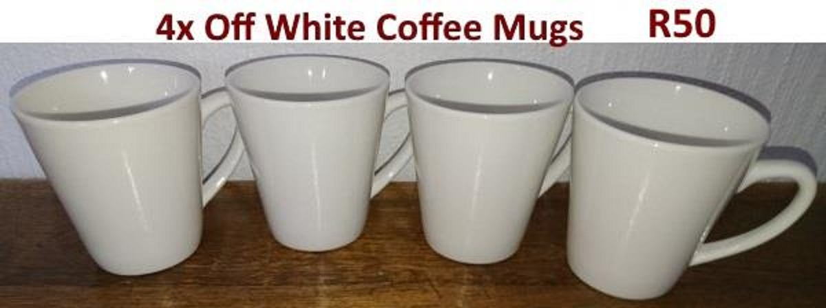 4 Off white coffee mugs