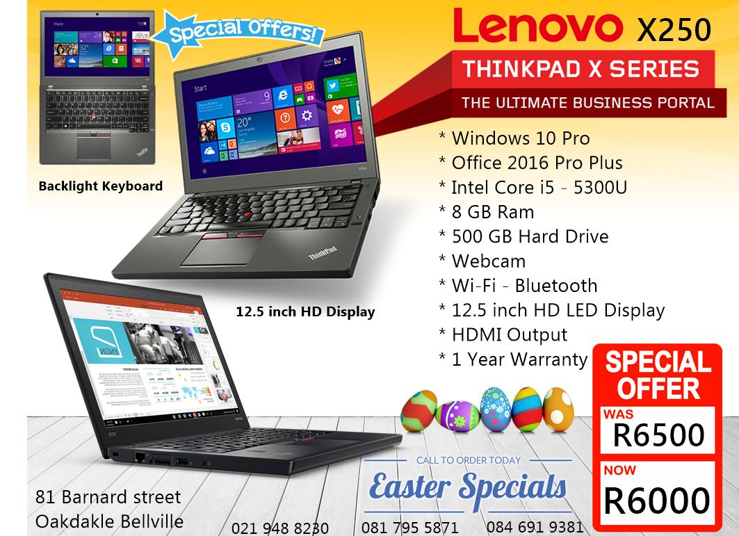 Lenovo X250 Core i5, 12.5 inch Screen, 8GB ram, 1 Year Warranty
