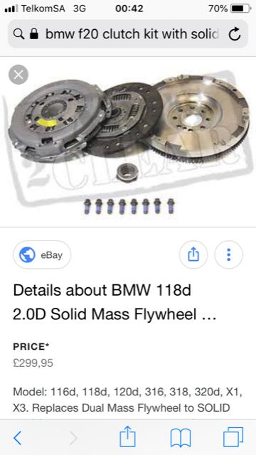 BMW 1 SERIES F20 SOLID FLYWHEEL