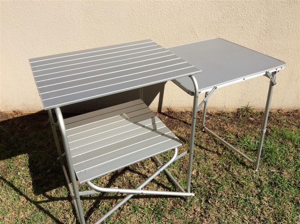 Three shelf, Fold-up Aluminum Camp Table.