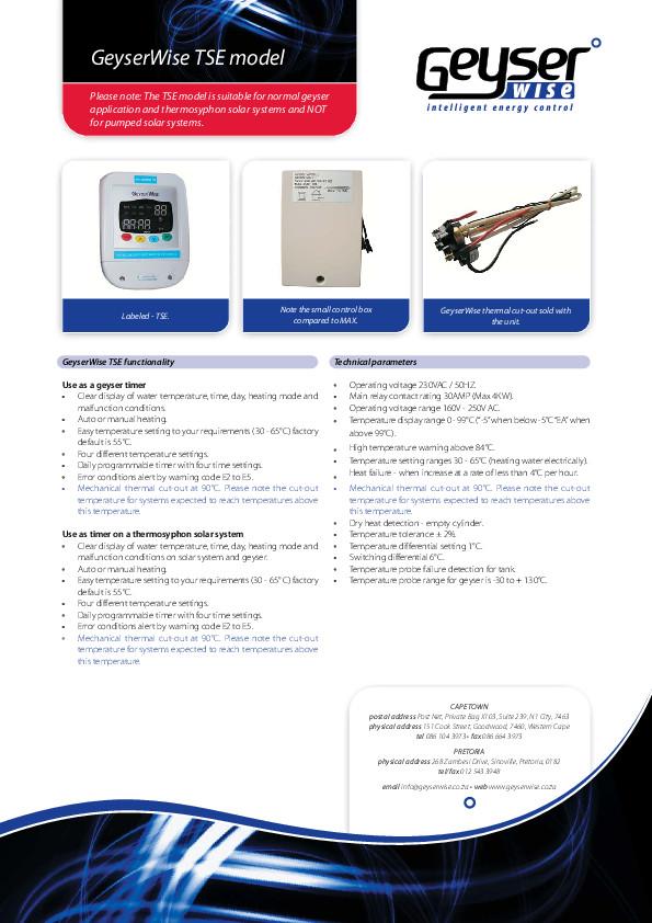 GeyserWise TSE Thermostat