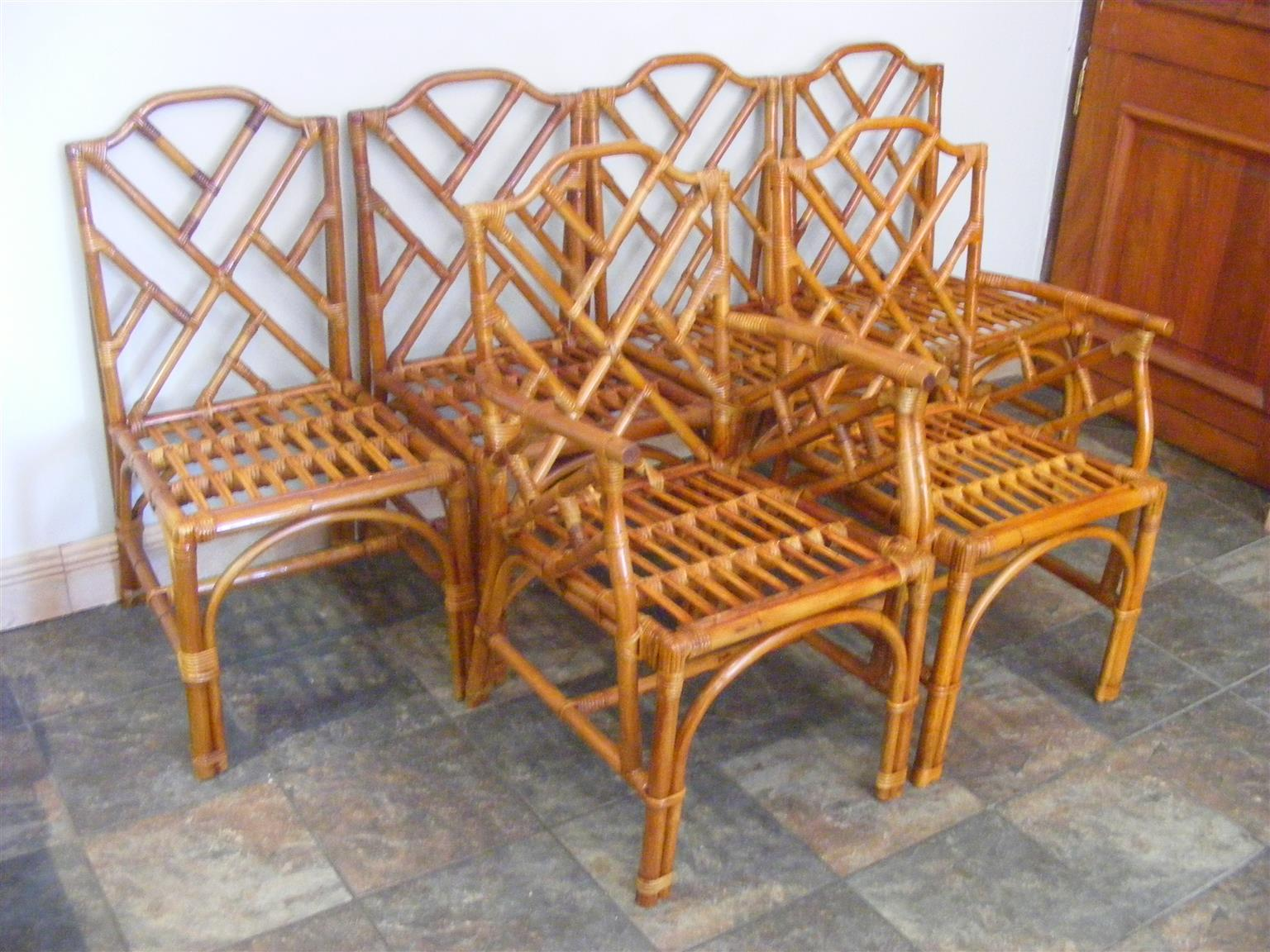 Six Imported Cane Dining Room Chairs Two With Arm Rests For Sale