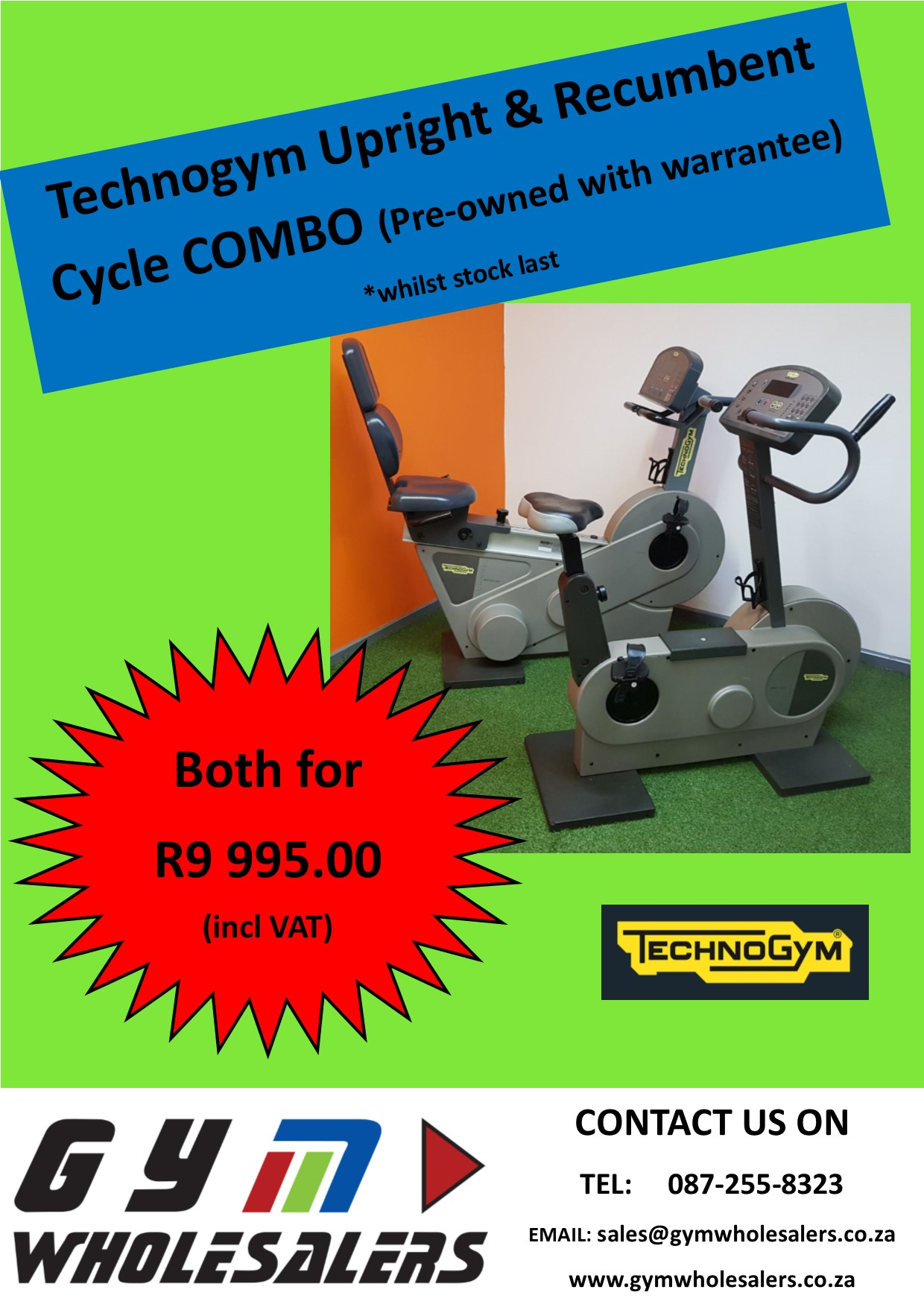 Technogym Upright & Recumbent Cycle Combo