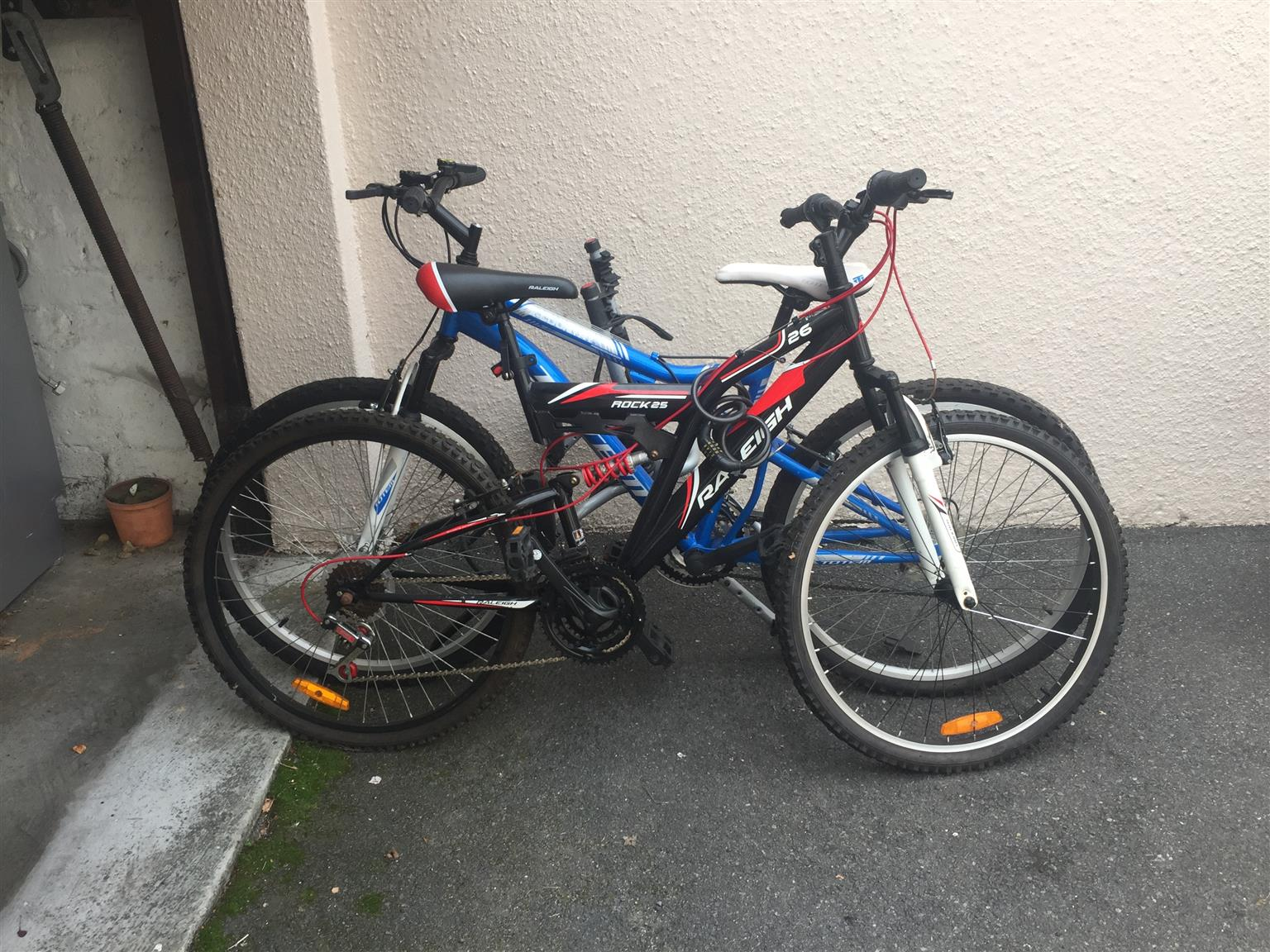 2 x ladies mountain bikes with permatube and bike rack