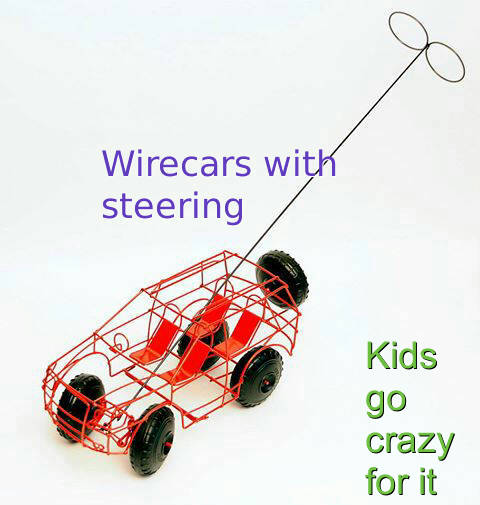 wire and steel cars with steering( draad karre)