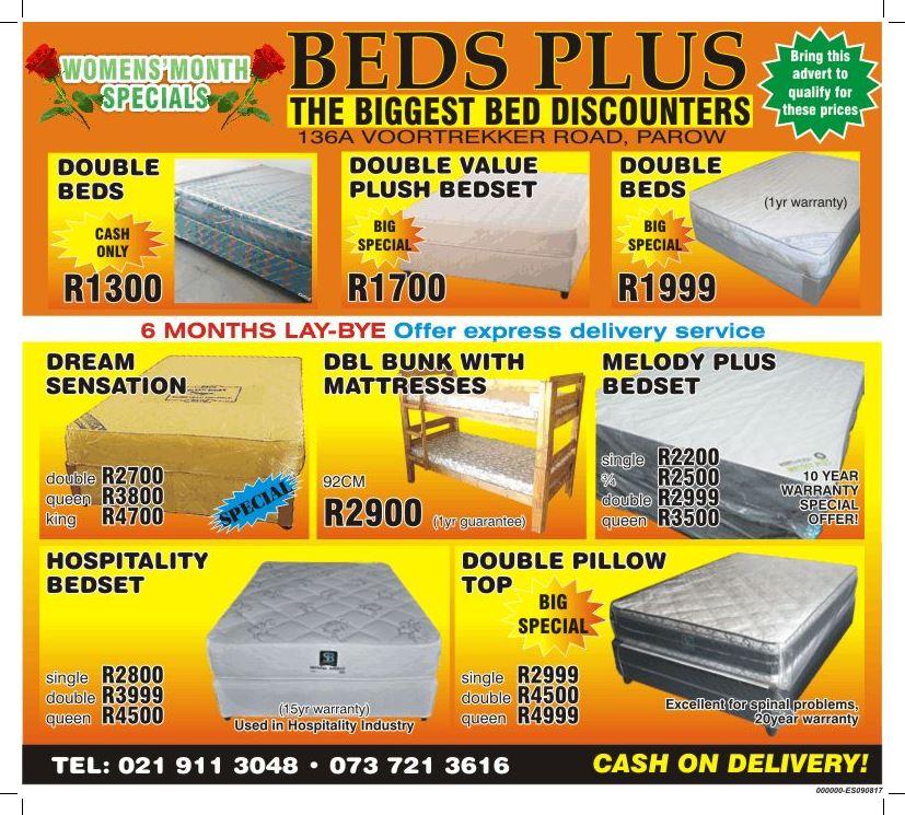 R1300 DOUBLE BEDS FOR SALE-( www.bedsplus.co.za)