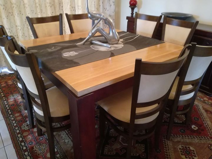 Cuatom made 8 seater solid oak dining table and chairs