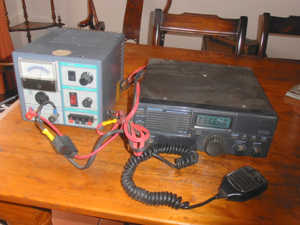 Kenwood TRC-70 HF radio and Daiwa PS-304 II power supply