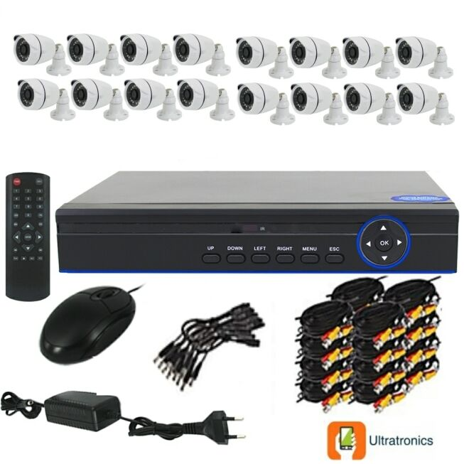 Full HD AHD CCTV Kit - 16 Channel CCTV DIY camera system - 16 Bullet Cameras