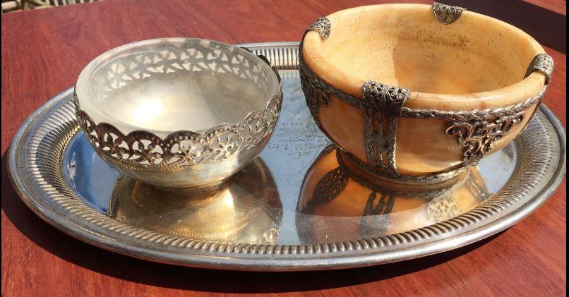 Classy High Tea  - Two Afrikana Sugar Bowels And Silver Tray