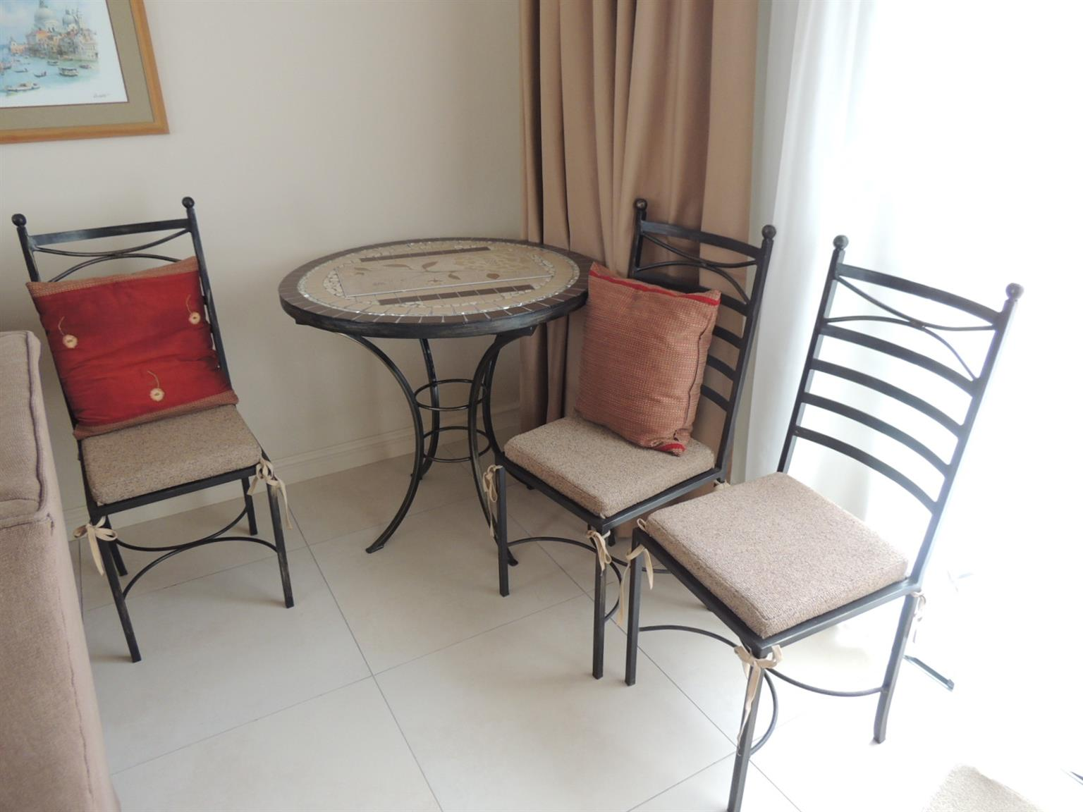 Mosaic table and 3 chairs