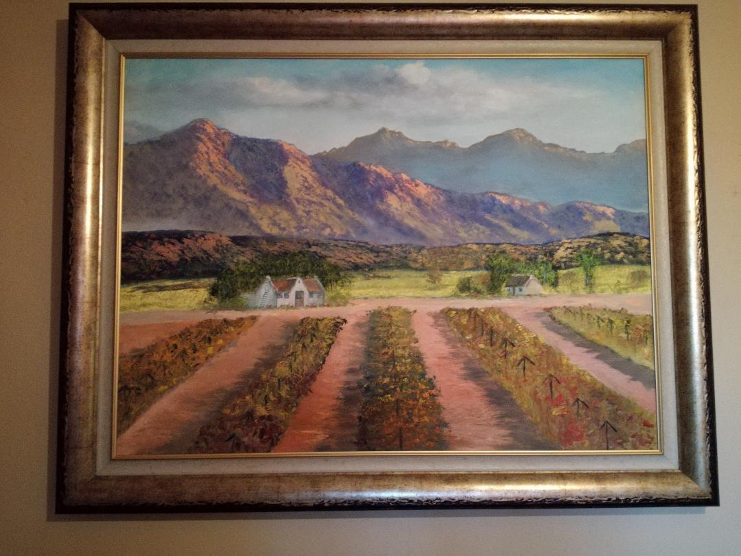 Mountain and Vineyard Landscape Painting