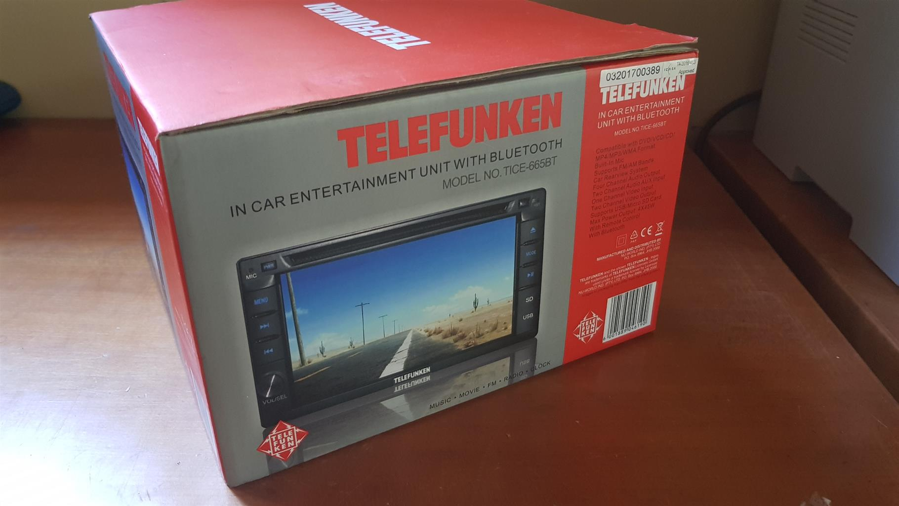 "Telefunken TICE-665BT Bluetooth Car DVD Entertainment System with 6.2"" Touch Screen"
