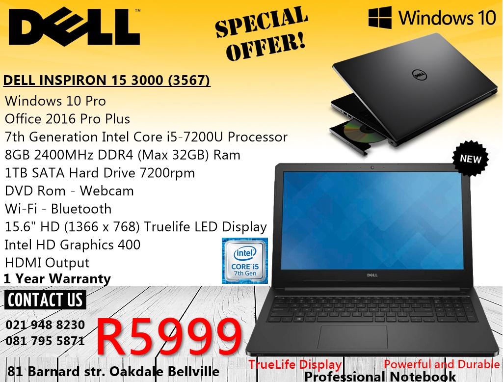 "Dell Inspiron 15 3567 - 15.6"" - Core i5 7200U - 8 GB RAM - 1 TB HDD - Bluetech 021 948 8230"