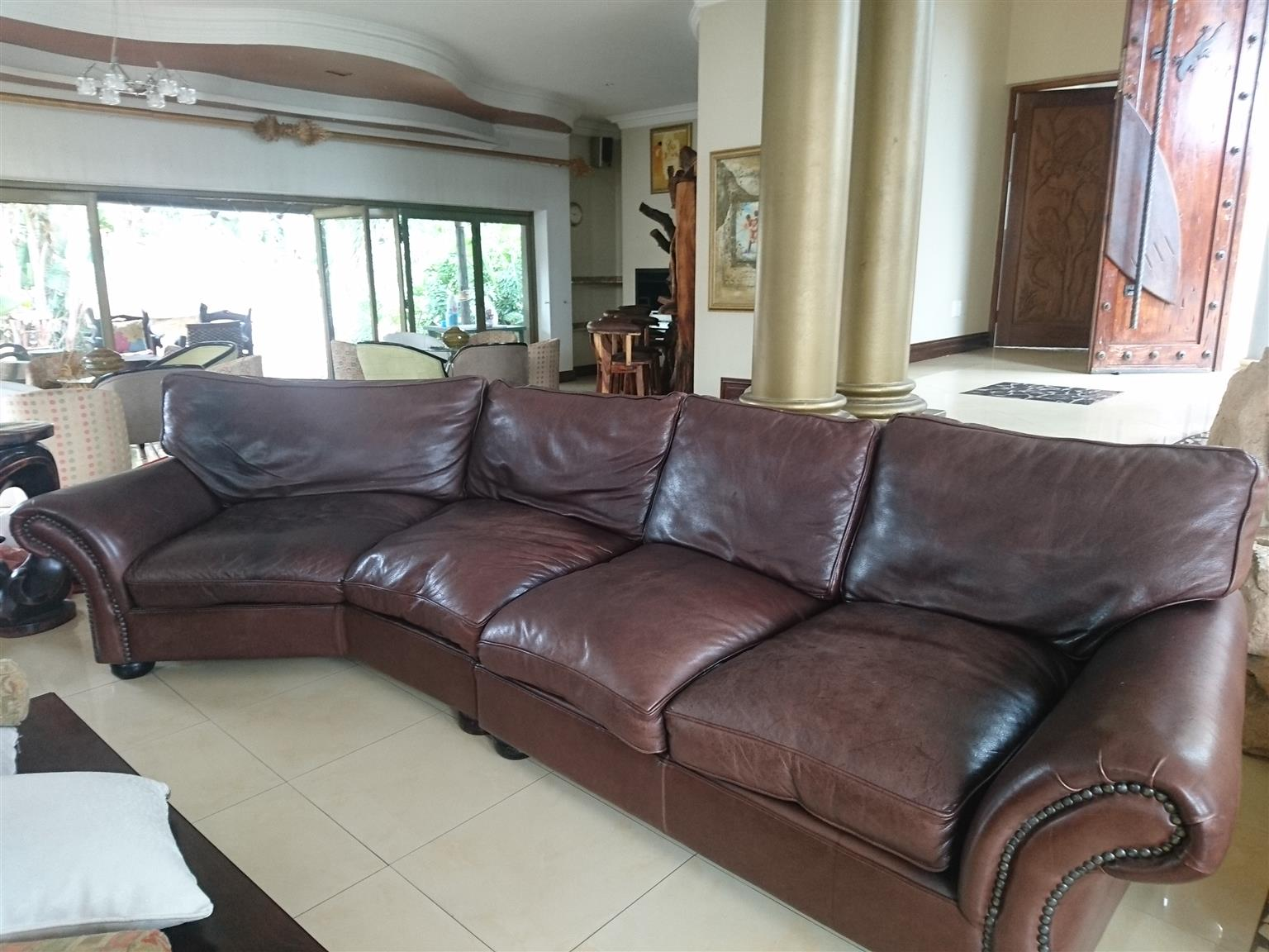 Leather Lounge Suite and Ottoman