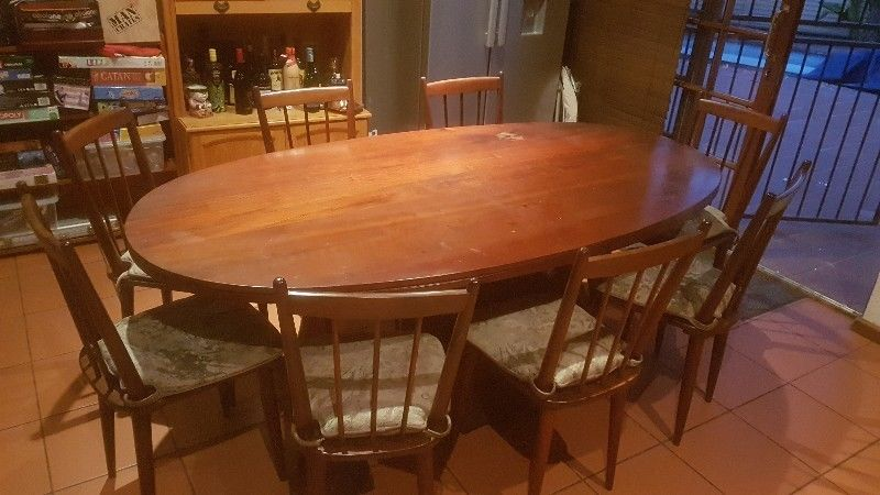 Imbuia 8 Seater Dining Room Table With Chairs For Sale Price Reduced