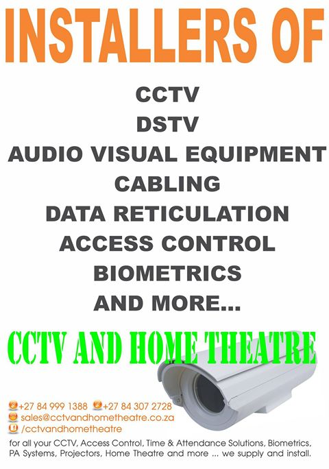 CCTV, Biometrics, Access Control, Remote PVR Viewing, Satellite and DSTV Installations and Relocations, Rhinodoor Security Gates and All Security Services