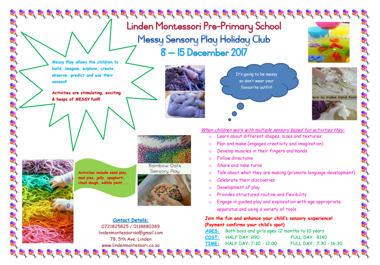 Messy Sensory Play Holiday Programme