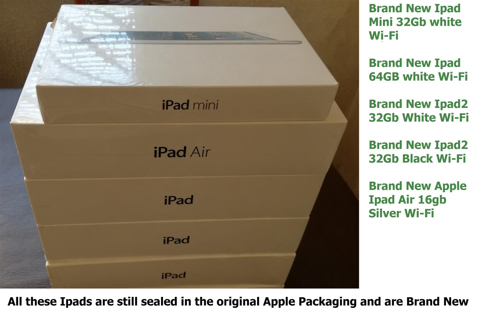 Brand new Apple Ipads (unused Still in Original Apple Packaging)