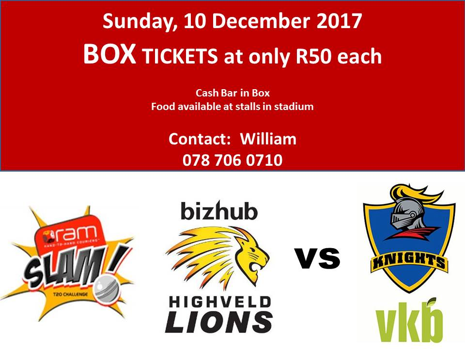 Box Tickets for Sun 10 Dec at Wanderers (highveld Lions vs VKB Knights)