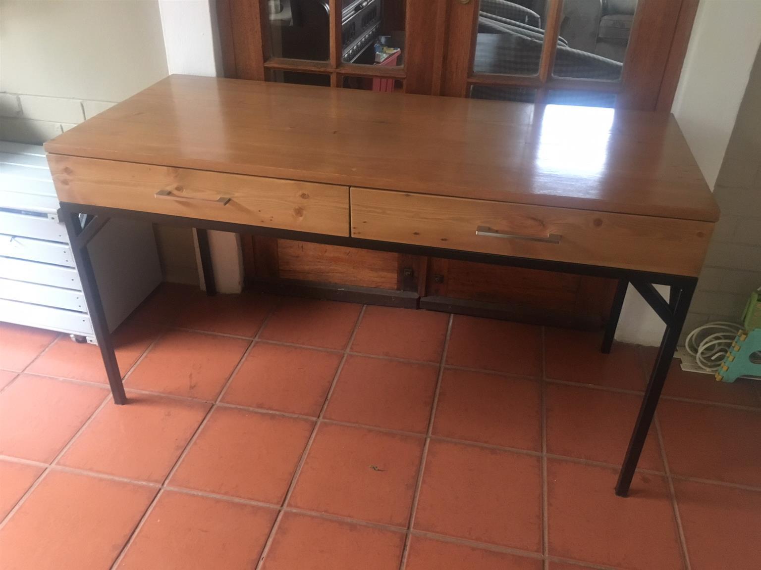 Reclaimed Oregon Timber Desk on Steel Frame