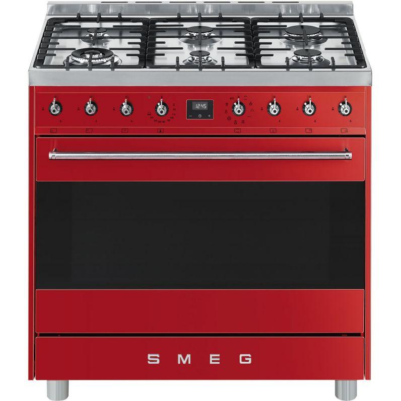 Save Big On SMEG - 90cm Red Symphony 6Bnr Cooker