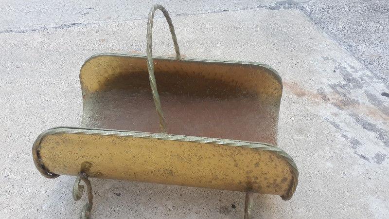 wood log basket brass?