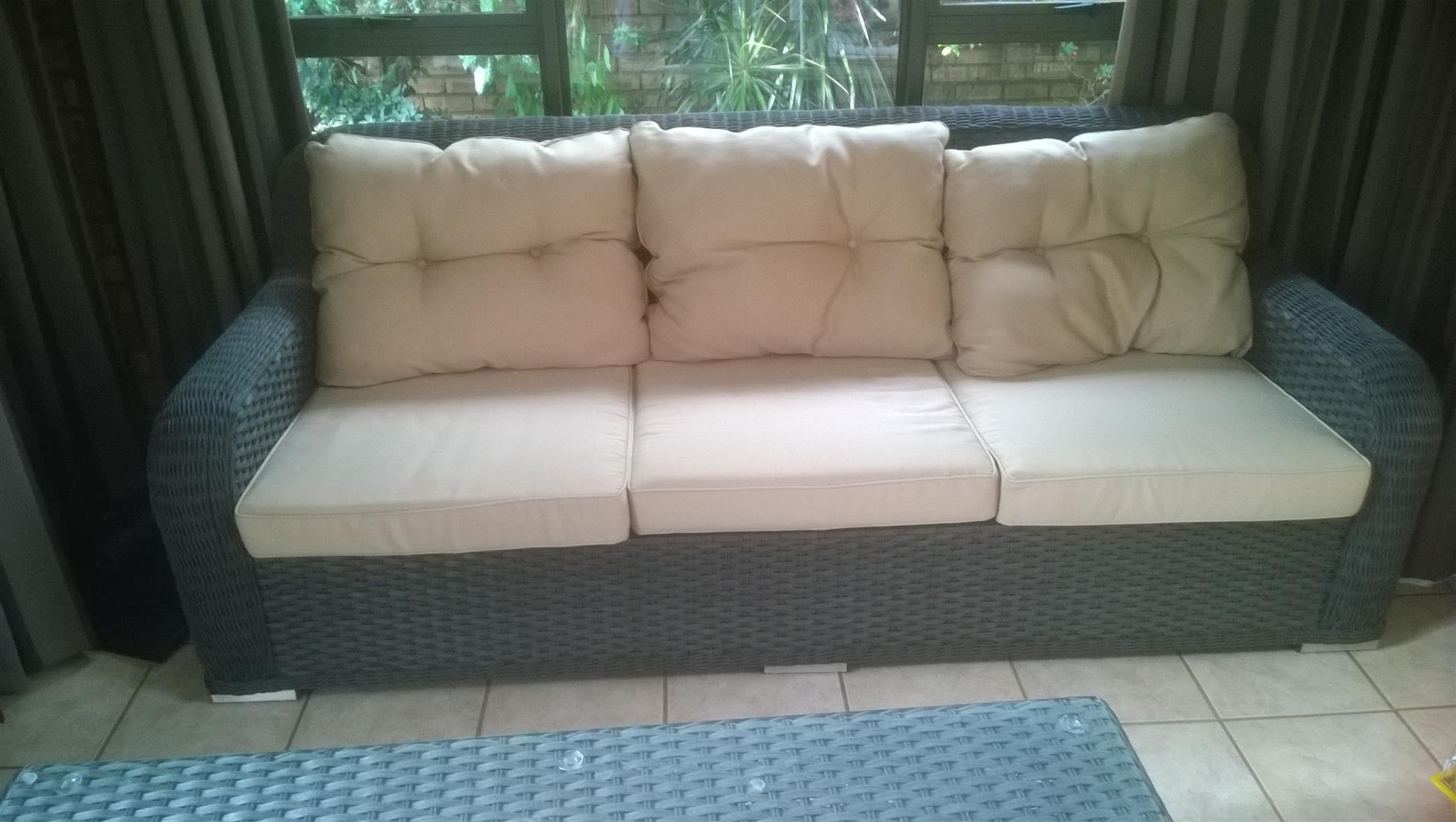 3 SEAT RATTEN SOFA WITH CUSHIONS AND COFFEE TABLE FOR SALE