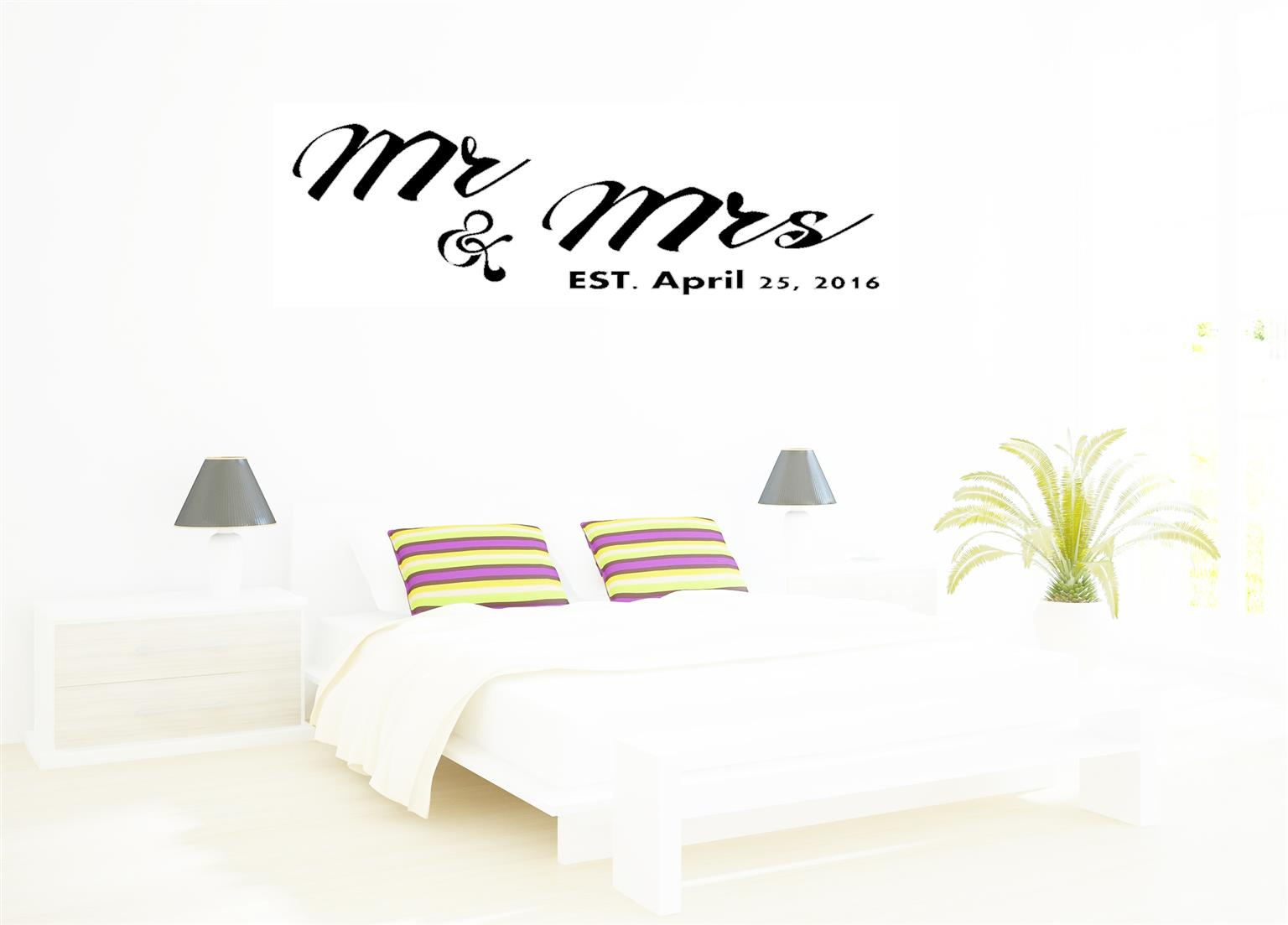 Mr and Mrs Decals - Gold / Silver / Black for walls, wedding halls, bedrooms