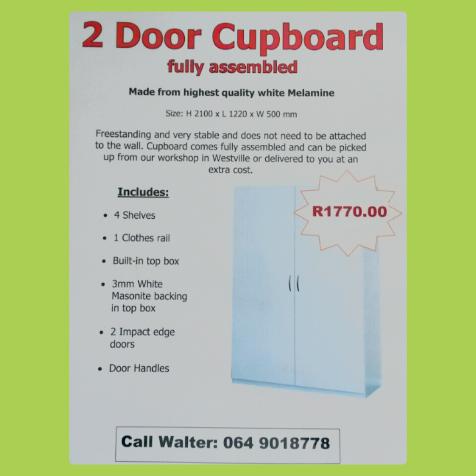 2 Door Cupboard, Wardrope,  white melamine -Top price