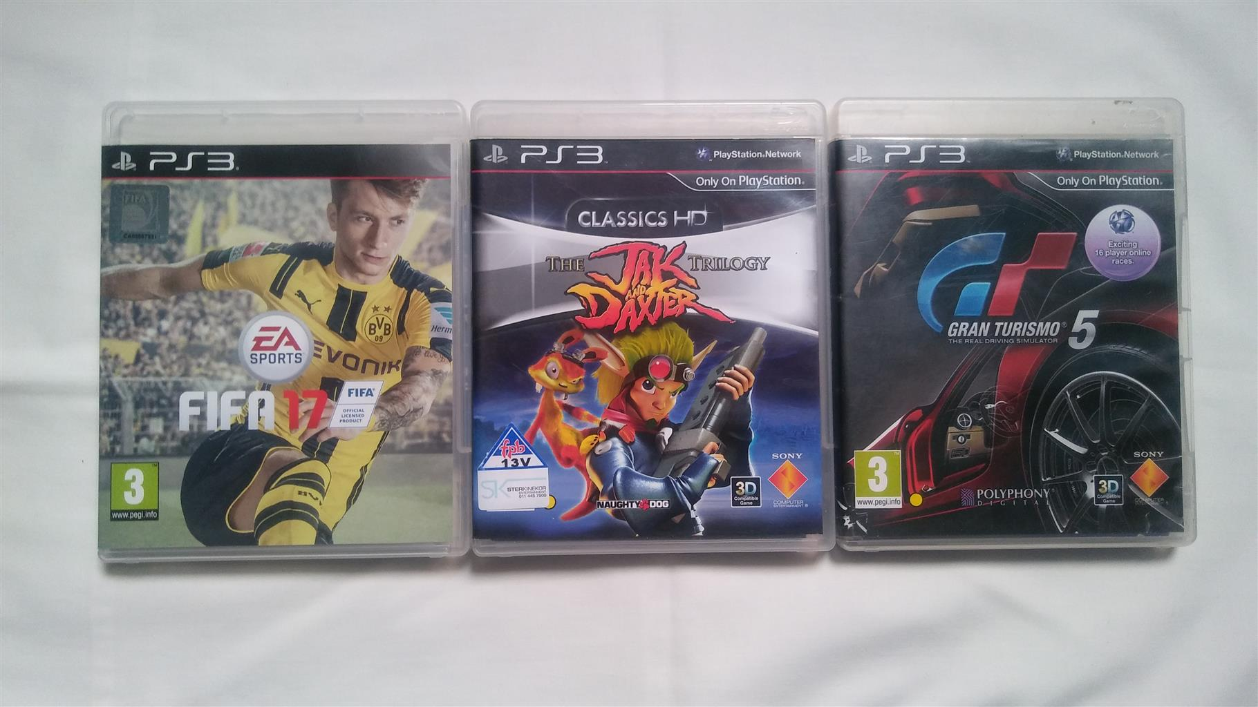 PS3 GAMES - FIFA 17 + JAK AND DAXTER TRILOGY + GRAN TURISMO 5