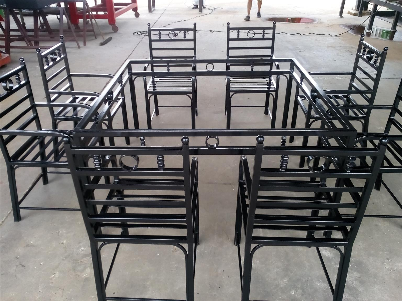 Wrought Iron 8  Seat Table & chairs