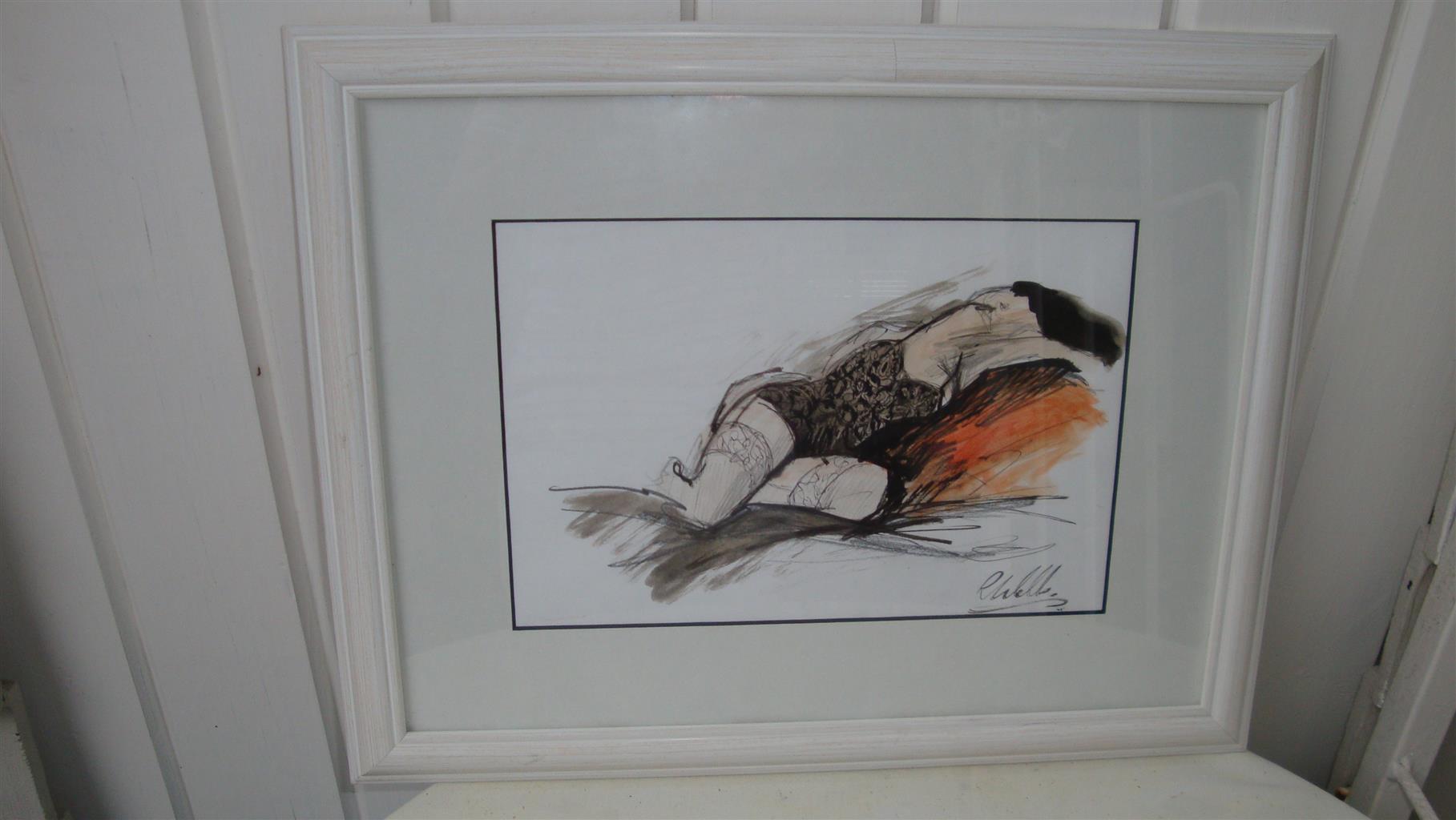 Affordable, original and framed art by Irish artist Ros Webb - reclining girl