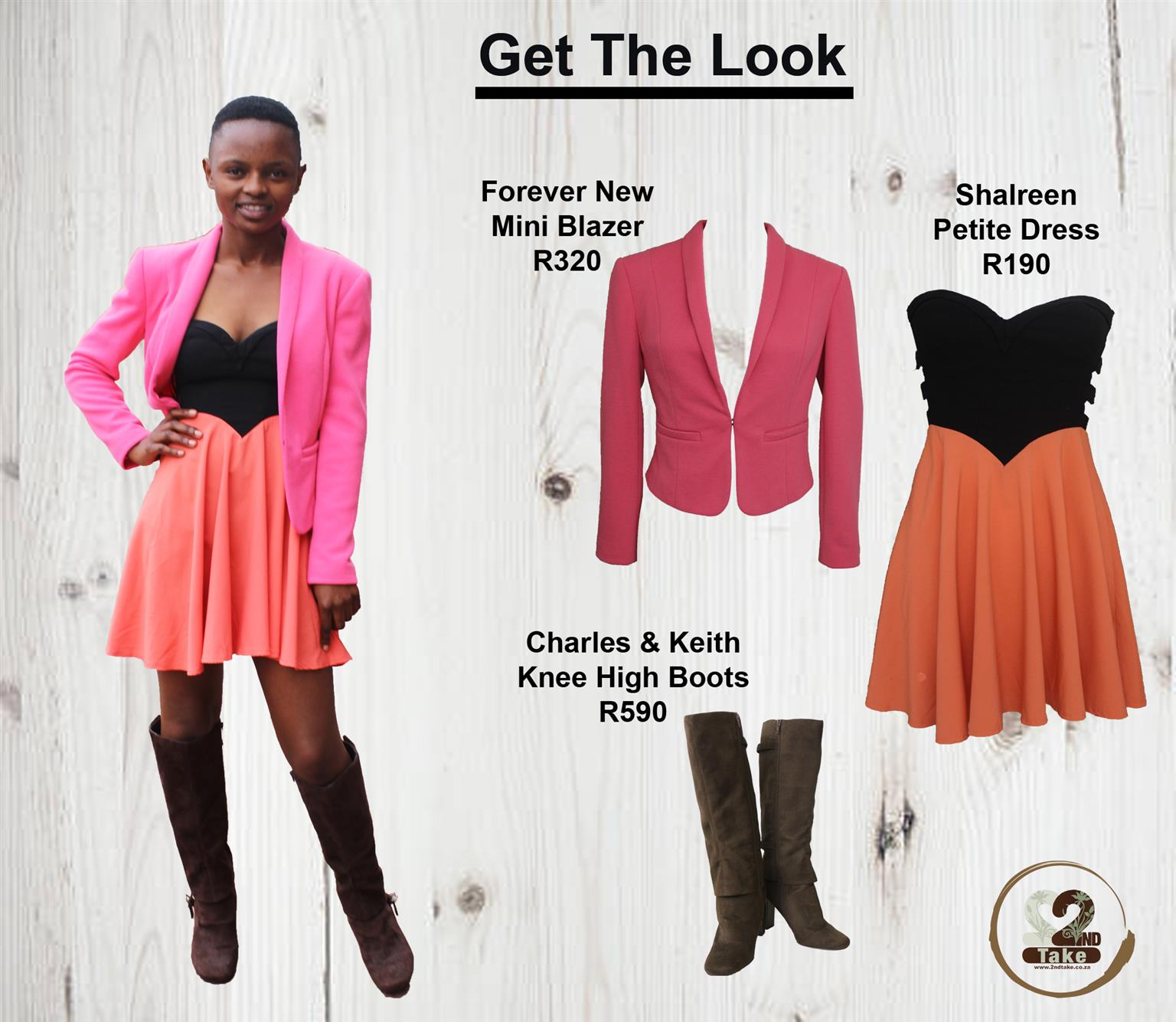 knee high boots with a colour-blocked, umpire-waist dress and a bright blazer available at 2nd Take