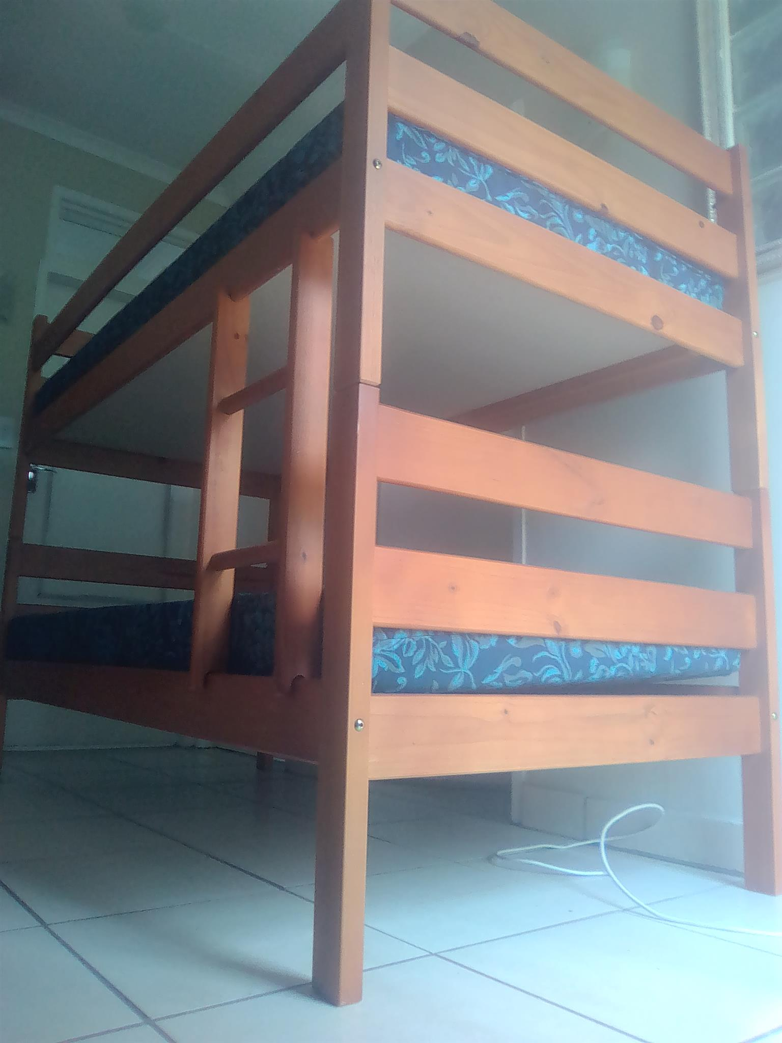 Solid wood bunker bed with mattress