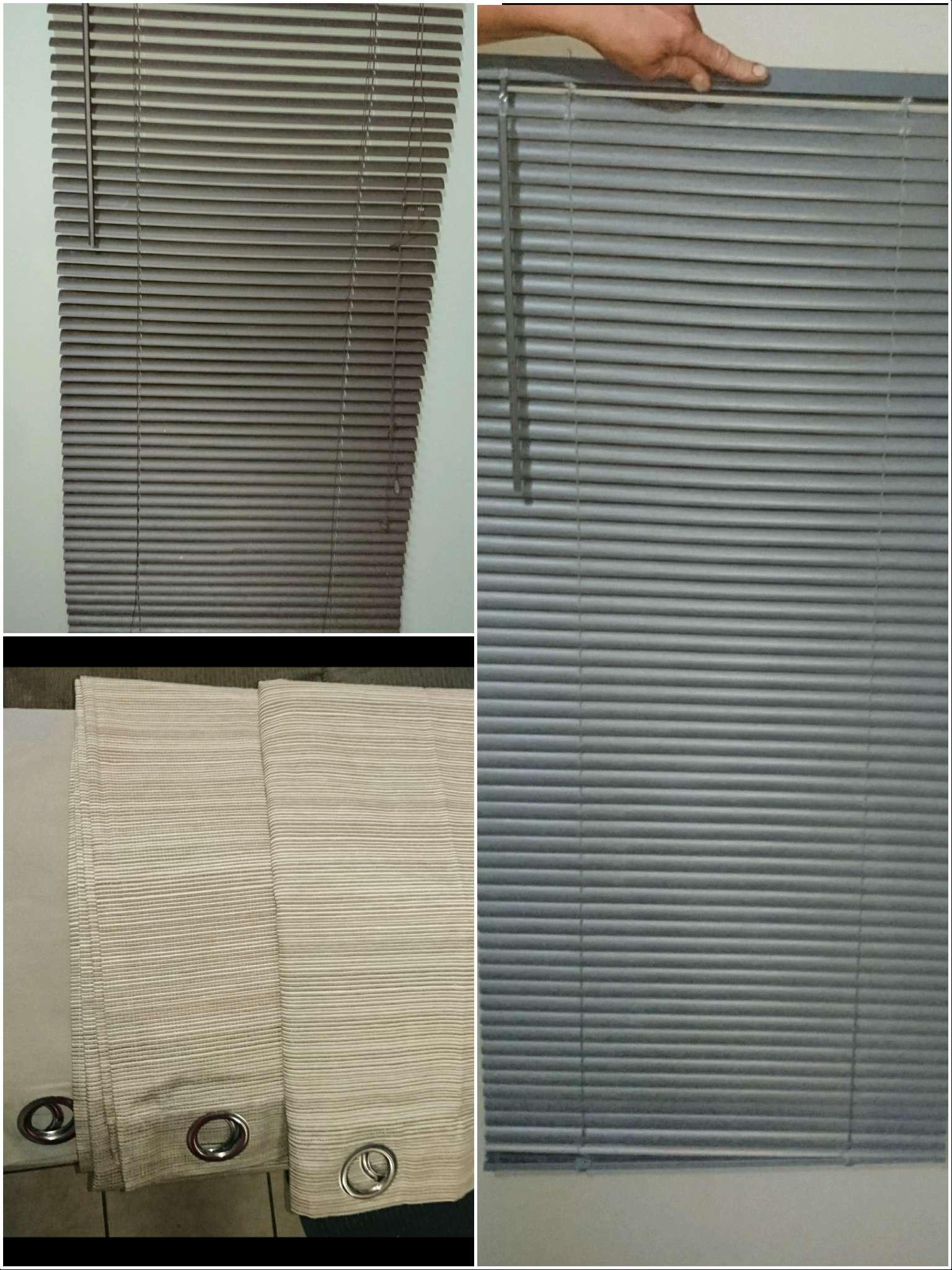 Beige eyelet curtains & Blinds