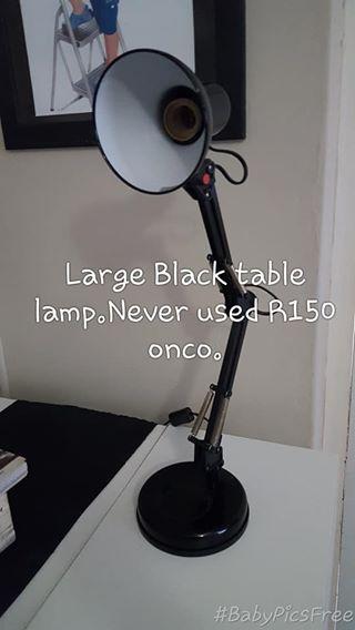 Large black table lamp