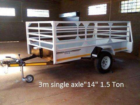 3M SINGLE AXLE TRAILER FOR SALE WITH BRAKES, PAPERS INCL