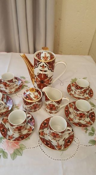 Brown flower tea set for sale