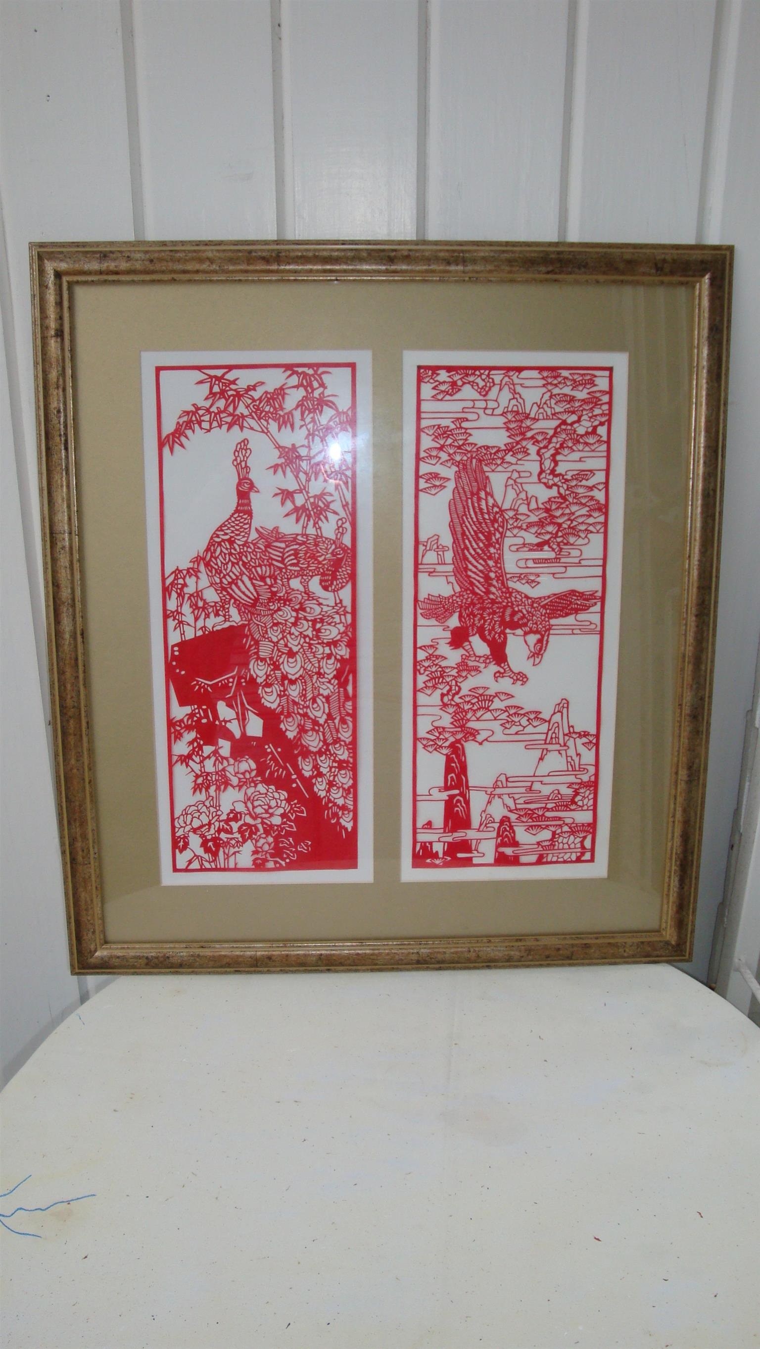 Chinese paper art in gilt frame