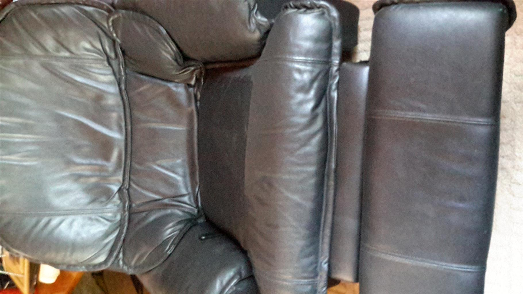 Full Leather Recliners - x3 Two Black and 1 Tan