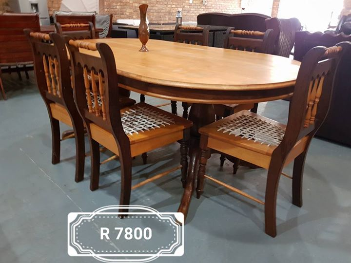 Dining Suite 6 Seater Imbuia And Yellow Wood