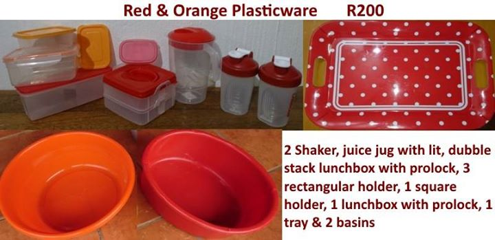 Red and orange plasticware