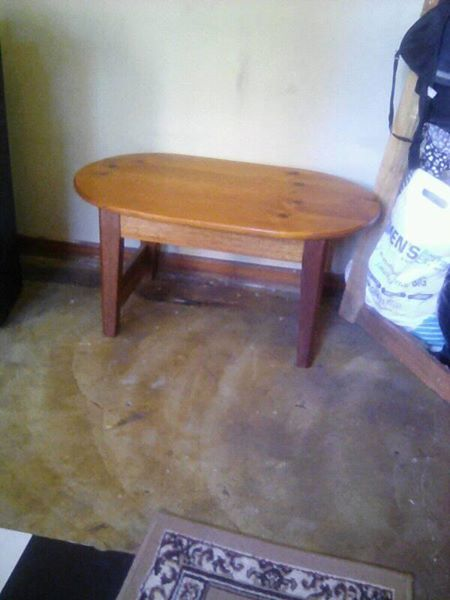 Oval shaped wooden table