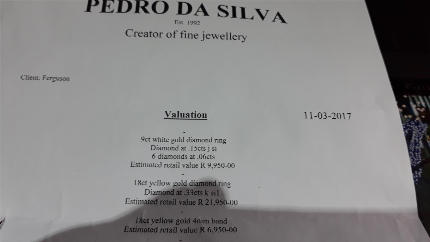 Selling 2 sets of Diamond Rings